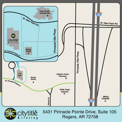 Rogers Location Map: 5431 Pinnacle Pointe Dr. Suite 105